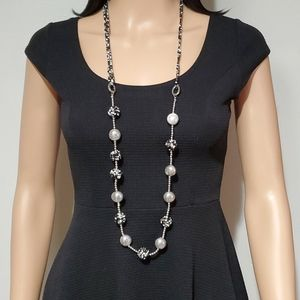 Chico's Black, White & Silver Beads Necklace